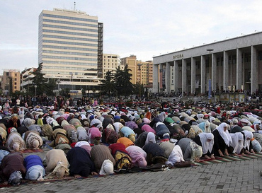 Thousands of Muslims praying in Tirane, Albania